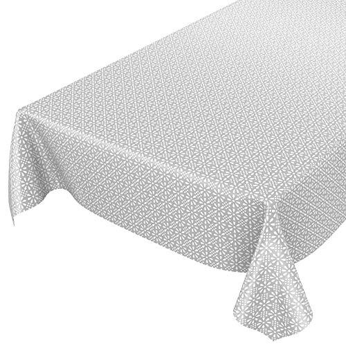 ANRO Nappe en Toile cirée Lavable - Style rétro Uni Trend - Gris/Argent - 100 x 140 cm