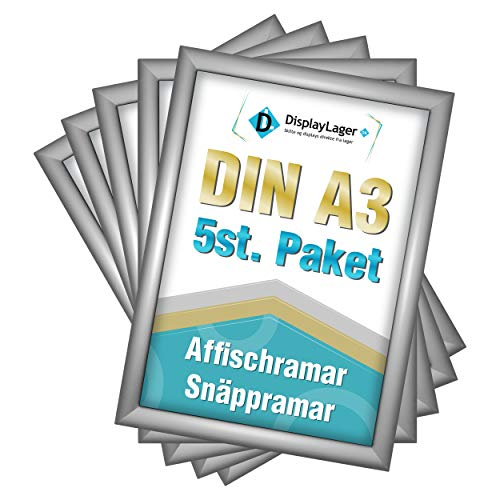 DisplayLager - 5 Klapprahmen DIN A3 | Plakatrahmen mit 25mm Silber alu Profil | inkl. entspiegelter Schutzscheibe und Befestigungsmaterial | Wechselrahmen/Posterrahmen/bilderrahmen mit klicksystem