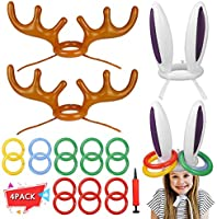 Garberiel 4 PCS Two Ring Toss Carnival Game Combo Set Bunny Inflatable Hat for Kids Teens Students Outdoor Practical...