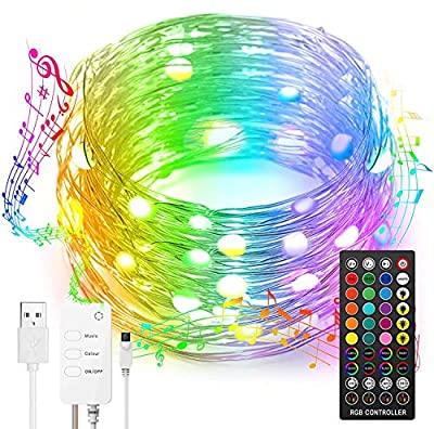 100 LED Fairy Lights 16 Colors String Light with Remote Control Waterproof 8 Modes Twinkle Lights Music Sync 4 Modes Dimming & Timer Rope Light for Bedroom Outdoor Christmas Party Decor 10m