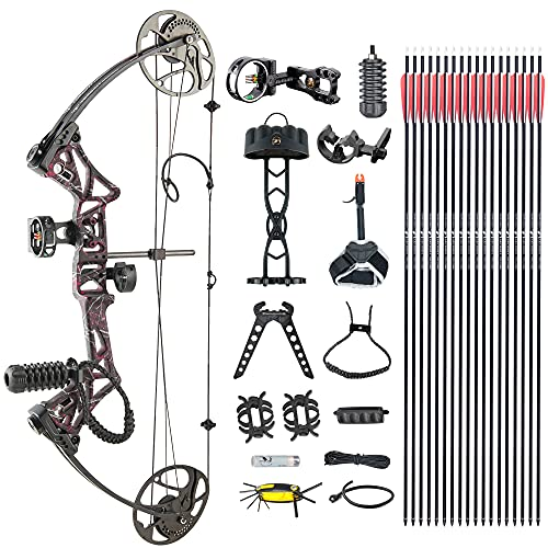 Compound Bow TOPOINTARCHERY M1 Package, 19'-30' Draw Length,19-70Lbs Draw Weight,320fps IBO Limbs Made in USA (Muddy Girl)