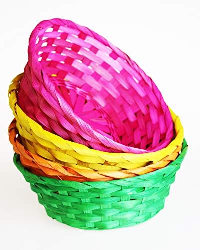 Kamaca 4 Liebevoll gestaltete Körbe aus Bast Bunte Bastkörbe in 4 Farben rund Größe je 22,5 x 7,5 tolle Dekoration zu Ostern Osterkorb (4er Set bunt)