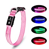 Collier Chien LED Rechargeable Collier Chien Lumineux 100% Imperméable Clignotant Collier Chein Ajustable pour Petits Moyens Grands Chiens - Rose -XS