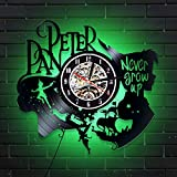 Peter Pan Lighted Vinyl Wall Clock Captain Hook - Perfect Disney Gift for Girl, Boy - Decoration for Playroom, Kids Room - Never Grow Up Fairy Wonderland Wendy Flying (Green)