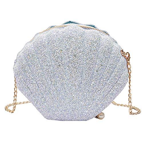 Felice Women Girls Little Mermaid Seashell Purse Cross-body Shoulder Bags Glitter Sequins Chain Evening Purse