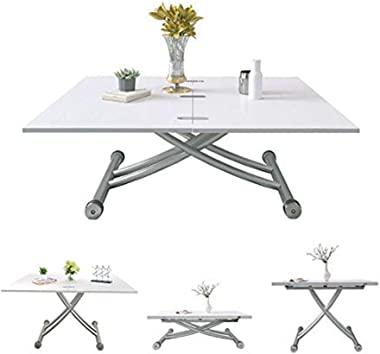 Dining Party Table, Lift Up Modern Shape Height Adjustable Coffee Table,White Living Room Furniture zhaoyun