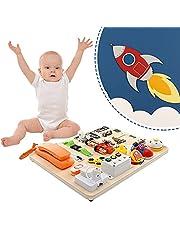 Crtkoiwa Montessori Busy Board Jouets éducatifs éducatifs préscolaire Jouet éducatif peut apprendre 20 compétences motrices de base Convient pour les enfants de 1 à 4