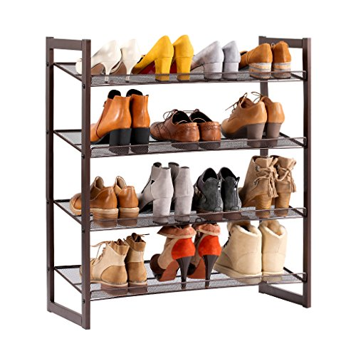 LANGRIA 4-Tier Metal Shoes Rack Stackable Shoe Organizer DIY Storage Cabinet Shelf with 16 Pairs Capacity and Anti-Scratch Floor Caps...