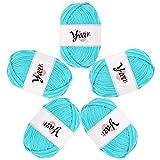 Hilos de tejer 5 rollos Hilos acrílicos Durable Tejer Bonbons Hilo 4 hebras de lana Juego de lana de ganchillo hecho a mano 50 g Hilo de ganchillo para principiantes Regalo de mujer Suéter Light blue