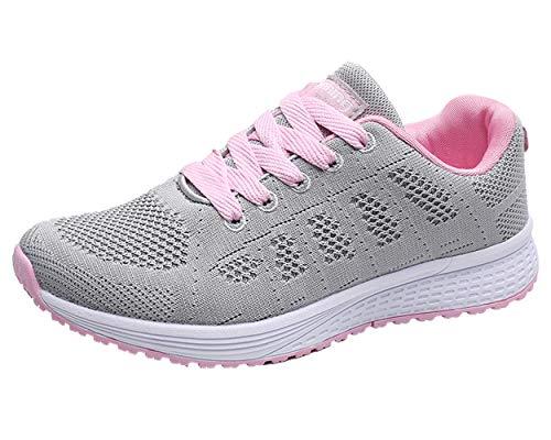 Decai Zapatillas de Deportivos de Running para Mujer Deportivo de Exterior Interior Gimnasia Ligero Sneakers Fitness Atlético Caminar Zapatos Transpirable Rosa 42 EU