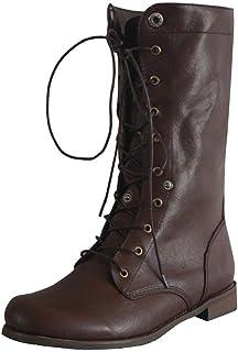 POLP Botas Mujer Invierno Vintage Casual Zapatos de tacón bajo con Cordones Tacón ancho Antideslizante Business A la moda ...