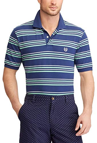 Chaps Men's Classic Fit Cotton Mesh Polo Shirt (Navy/Lime Multi, XL)