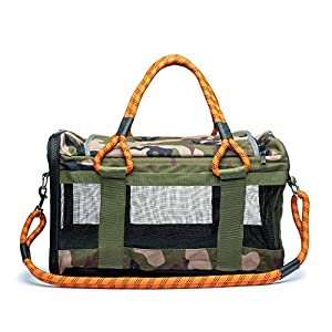 ROVERLUND Pet Travel Bag, Car Seat & Airline Compliant Carrier. Includes Bonus Leash. Stylish. Durable (Camouflage, Large)