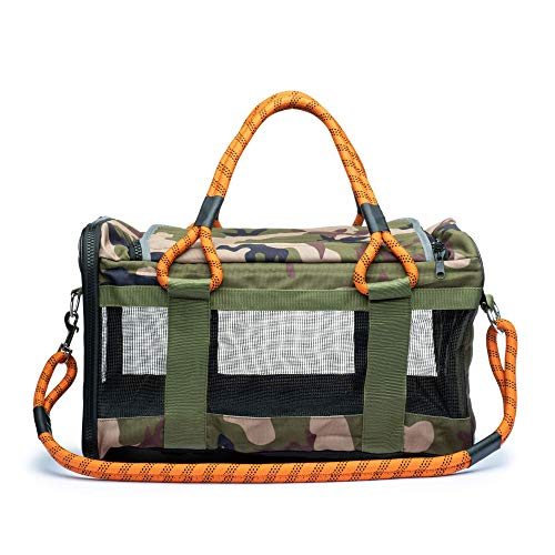 ROVERLUND Pet Travel Bag, Car Seat & Airline Compliant Carrier. 20lbs limit. Includes Bonus Leash. Stylish. Durable (Camouflage, Large)