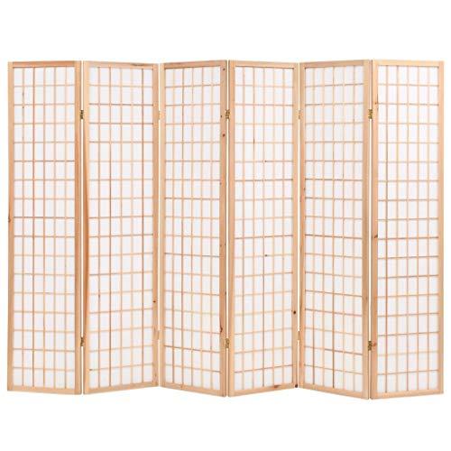 Vislone Plegable Biombos Diseño 6-Panel de Estilo Japonés Biombo Divisor Separador de Habitaciones Espacios Divisoria 240x170cm Natural