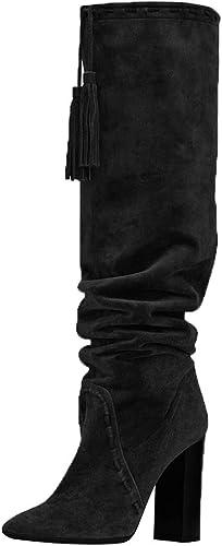 SYYAN Femmes Pointu Gland Pendentif Plier Talon Haut Pompe Le Genou Bottes Noir Marron,noir,42