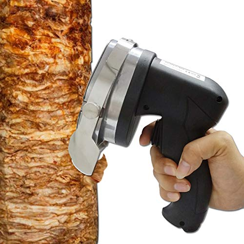 FOOSKOO Elektro Dönerschneider Edelstahl Gewidmet Handheld Kebab Cutter Elektrisches Tranchiermesser Barbecue-Slicer Einstellbare Dicke Meat Slicer Machine