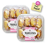 Sugar Bowl Bakery Madeleines Petite French Tea Cake Cookies Individually Wrapped (28 Oz. X 2 ) with 1 Bonus Colorful Round Refrigerator Magnet (3-Piece Set)