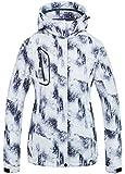 Women's High Waterproof Windproof Snowboard Colorful Printed Ski Jacket Black White 2XL