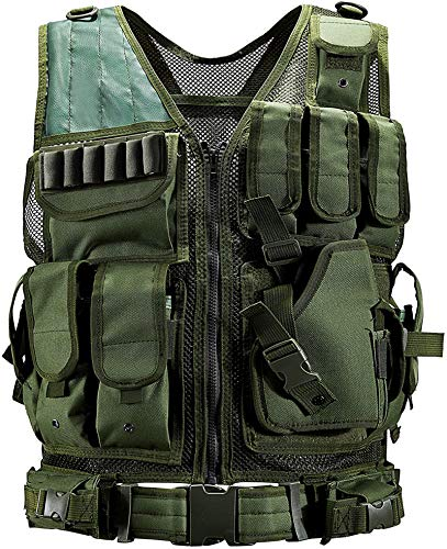 Rainlin One Size Tactical Vest Set, Lightweight Airsoft Paintball Vest, Camouflage Multi-Function Vest for Men Camping Fishing, Army Green