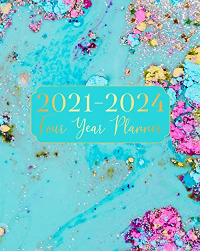2021-2024 Four Year Planner: Art Blue Color 4 Year Monthly Planner Calendar Schedule Organizer January 2021 to December 2024 (48 Months) With Federal Holidays and inspirational Quotes