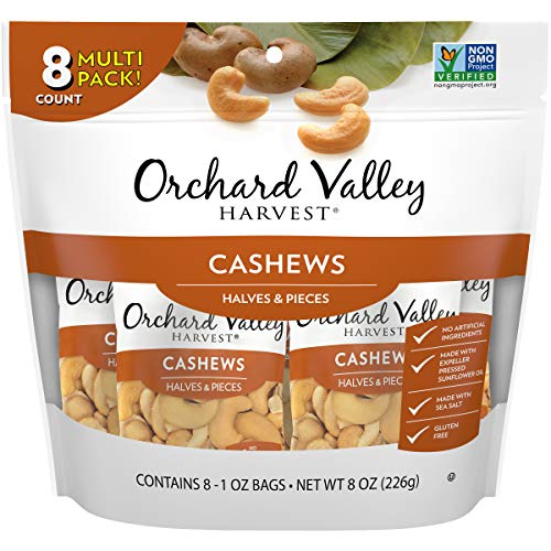 ORCHARD VALLEY HARVEST Cashews Halves & Pieces, 1 oz (Pack of 8), Non-GMO, No Artificial Ingredients