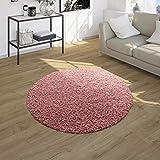Shaggy Tapis Poils Hauts Poils Longs Haute Qualité Haut Densité De Fil Uni Pastel Rose, Dimension:Ø 120 cm Rond