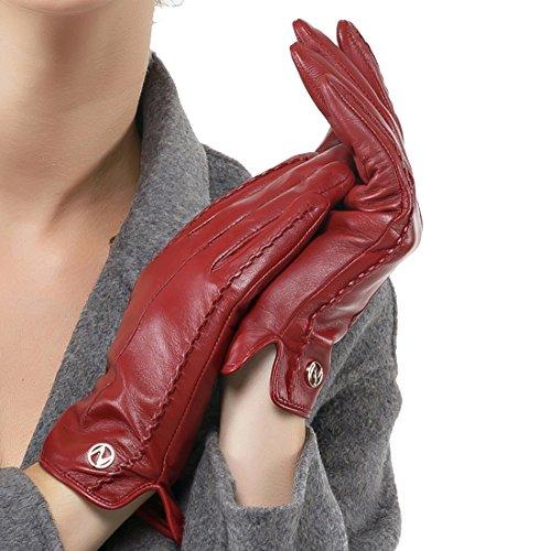 Nappaglo donne classico vera nappa, guanti di pelle puro cashmere in inverno caldo semplici guanti (touchscreen o non touchscreen)