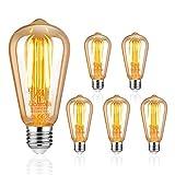 Uchorlls Bombilla de Filamento LED E27, 6W (equivalente a 60W), 700LM, Luz Clida, No Regulable,E27 Edison Vintage Bombilla de Filamento Antiguo LED Bombilla de Decorativa, Pack de 5