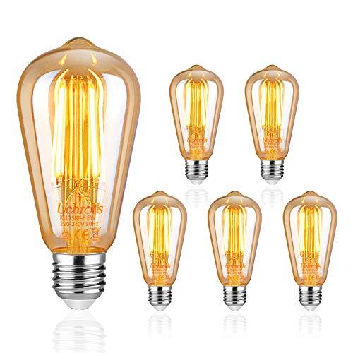 Uchorlls Bombilla de Filamento LED E27, 6W (equivalente a 60W), 700LM, Luz Cálida, No Regulable,E27 Edison Vintage Bombilla de Filamento Antiguo LED Bombilla de Decorativa, Pack de 5