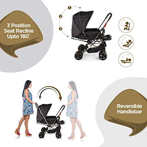 LuvLap Starshine Stroller/Pram, Easy Fold for Newborn Baby/Kids, 0-3 Years (Black) 5