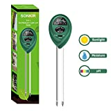 Sonkir Soil pH Meter, MS01 3-in-1 Soil Moisture/Light/pH Tester Gardening Tool Kits for Plant Care, Great for Garden, Lawn, Farm, Indoor & Outdoor Use (Green)