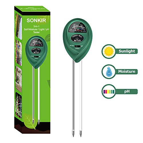 Sonkir Soil pH Meter, MS01 3-in-1 Soil Moisture/Light/pH Tester Gardening covid 19 (4 Way Soil coronavirus)