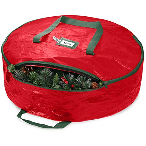 Jumbo Christmas Wreath Storage Bag 76cm - Water Resistant Fabric, Large Xmas Wreath Storage Container Box for Christmas Decorations Wreaths & Garland Storage Bag, 2 Canvas Handles, Labeling Card Slot