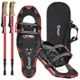 Cauzyart Snowshoes for Women Men Youth Kids, 21/25/30 Inches Lightweight Aluminum Terrain Snow Shoes with Anti-Shock Trekking Poles and Carrying Tote Bag, Easy to Wear with One-Pull System