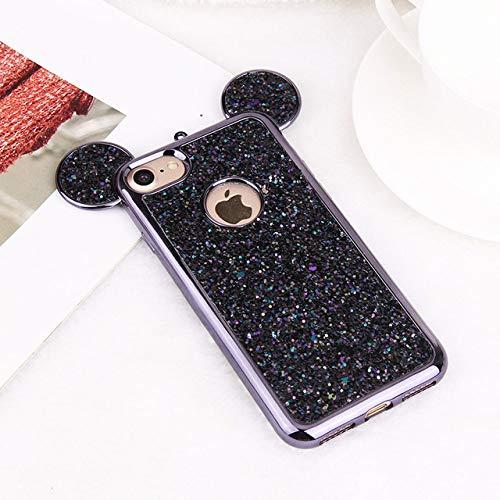 LIUYAWEI Estuche de Lujo con Orejas de ratón 3D para iPhone 11 Pro MAX XR XS X Estuche de Silicona Brillante con Brillo Coque para iPhone 8 7 6 Plus 5 5S SE 10 Carcasa, Negro, para Galaxy S9 Plus