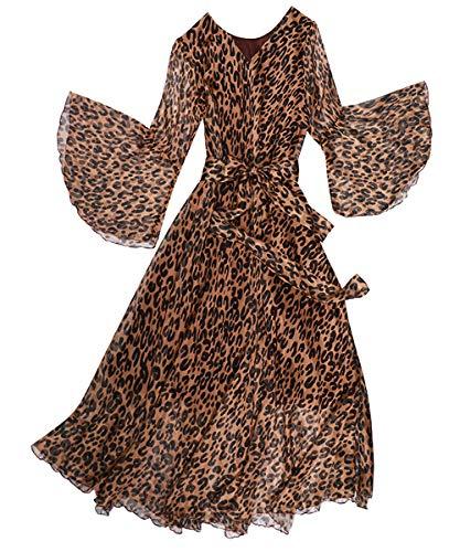 MedeShe Women's Bell Sleeve Flowy Chiffon Maxi Dress Holiday Beach Floral Sundress (Leopard Print, S/M)