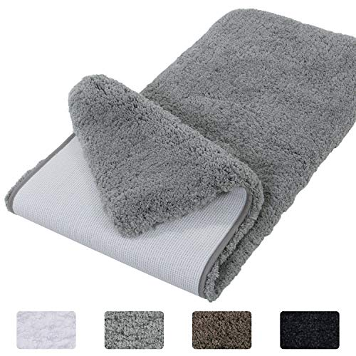 Lifewit Bathroom Runner Rug Bath Mat 59'x20' Non-Slip Soft Long Shower Rug Plush Microfiber Water Absorbent Carpet Thick Shaggy Luxury Floor Mats, Machine Washable, Grey