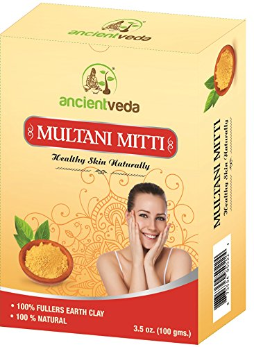 Multani Mitti 200 gms(Pack of 2 X 100 gms), 100% Fullers Earth Clay, 100% Natural, No Chemicals, No Preservatives - Ancient Veda