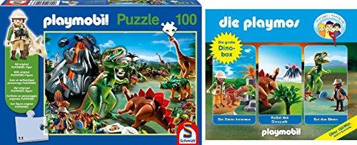 Schmidt Spiele Playmobil / Playmos - Im Dinoland Puzzle (100 Teile) + 3 Dinosaurierhörspiele + Playmobilfigur im Set - Deutsche Originalware [3 CDs]