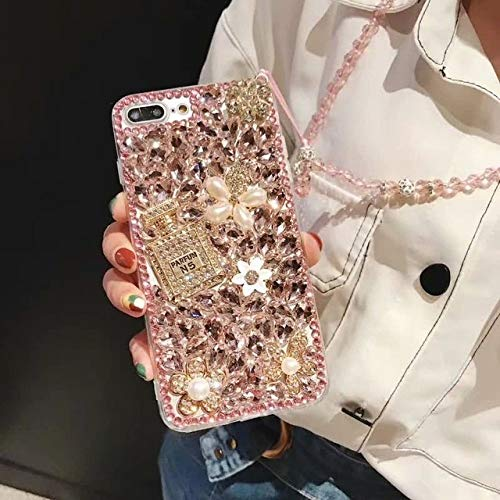 OPXZPM telefoonhoesje Glitter Crystal diamant Flower shell voor Samsung A50 A30/A9 A7 2018 Jewelled Parfum flessenhoes, For J7 2017 EU, 3