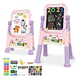 Mojitodon Easel for Kids,Rotatable Double Sided Easel for Kids Adjustable Standing Art Easel with Painting Accessories for Toddlers Boys and Girls-Pink