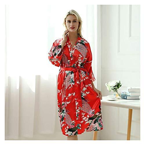 Lady Sexy Kimono, Jurk Met Riem Satin Zijden Vestje Pyjama, Nachtkleding Vrouw Smooth Badjas Toga (Color : Red, Size : M)