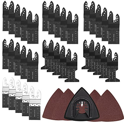 Atyes 56-Piece Wood Oscillating Tool Saw Blades, Professional Universal Multitool Blades Kit, Quick Release Multi Tool Blades Fit for Dewalt Bosch Worx Craftsman Dremel Porter Cable Fein Makita Milwaukee