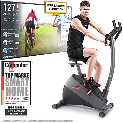 Sportstech Exercise Bike ESX500 with smartphone app control + 12KG inertia, pulse belt compatible – fitness bike hometrainer with low-noise belt drive system - with Kinomap