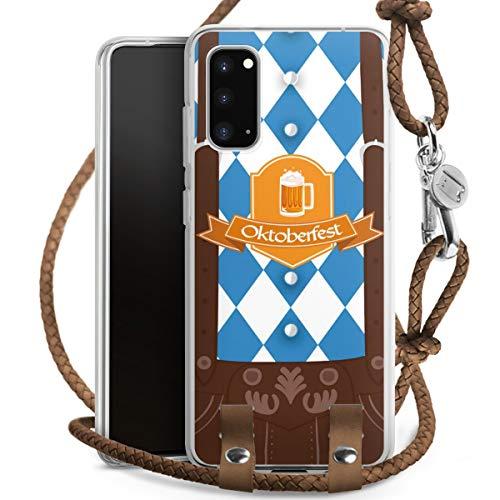 DeinDesign Carry Case kompatibel mit Samsung Galaxy S20 Handykette Handyhülle zum Umhängen Bier Feiern Lederhose