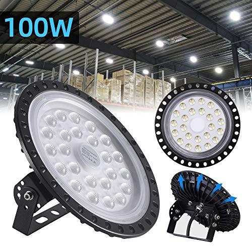 100W UFO LED High Bay Light lamp Factory Warehouse Industrial Lighting 10000 Lumen 6000-6500K IP54 Warehouse LED Lights- High Bay LED Lights- Commercial Bay Lighting for Garage Factory Workshop Gym