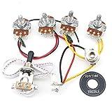 Unxuey Kit de faisceau de câblage pour guitare électrique LP 2 V 2 T 3 voies Interrupteur à bascule gros pots 500 K et bouchon noir