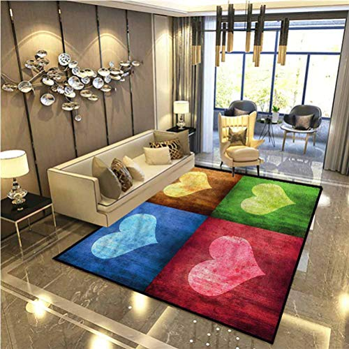 Romance Outdoor Rug Rugs Bathroom Rugs Area Rugs Heart Figures on The Boxes for Doorway Living Room Kitchen Bedroom Washable 6.5 x 8 Ft
