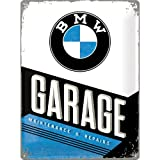 Nostalgic-Art BMW Garage Placa Decorativa, Metal, Multicolor, 30 x 40 cm